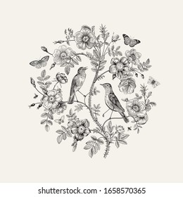 Birds and butterflies are in wild roses. Round Vector vintage classic floral composition. Black and white