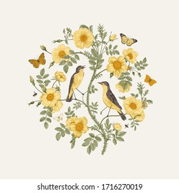 Birds and butterflies are in yellow wild roses. Round Vector vintage classic floral composition.