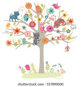 Birds and cats on the tree. Vector illustration.