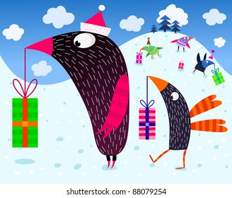Birds and Christmas presents - vector