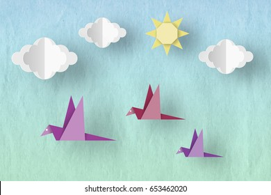 Birds, Clouds and Sun on a Cardboard Texture. Style Paper Origami Word. Cut Crafted Elements and Symbols. Cutout Abstract Made. Template for Banner, Card, Poster. Vector Illustrations Art Design.