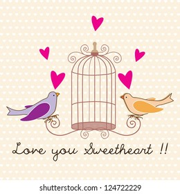 Birds couple card, I love you sweetheart. Vector Illustration.