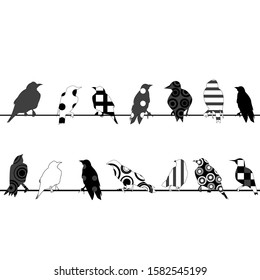 Birds with different pattern on wires over white background