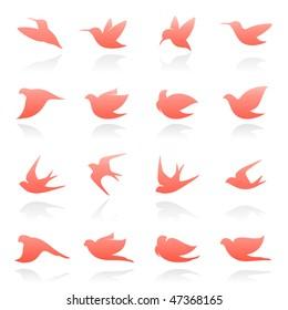 Birds. Elements for design. Vector illustration.