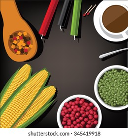 Bird's eye view background of holiday Kwanzaa with candles, corn, peas, cranberries and squash. EPS 10 vector Royalty free illustration.