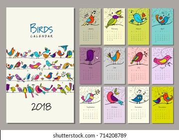 Birds family, calendar 2018 design Vector illustration