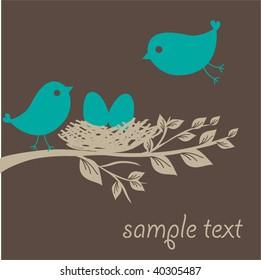 Birds family. Vector illustration