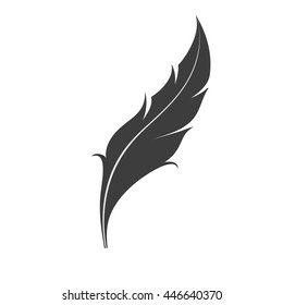 Bird's feather icon. Feather flat logo isolated on white background. Vector illustration.