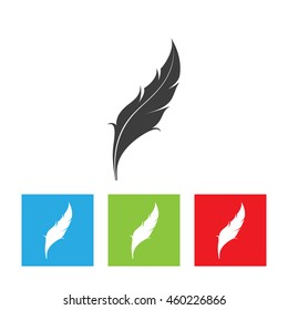 Bird's feather icon. Feather logo isolated on white background. Flat vector illustration.