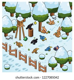 Birds feeding on birdseed, bunnies munching on carrots. Set in a forest covered with snow in wintertime (isometric illustration)