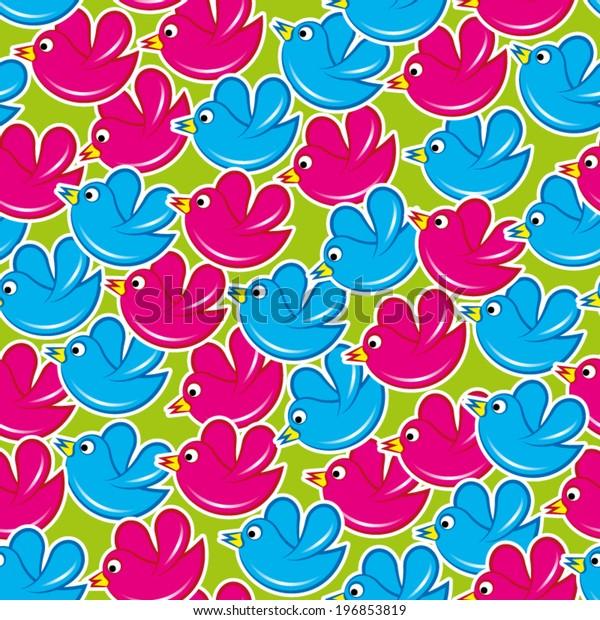 Birds in flight, seamless pattern
