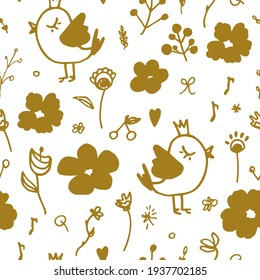Birds and flowers. Berries, leaves, hearts. Seamless pattern on a white background. Natural, botanical, children's. Cute illustrations for seasonal design, paper, fabric, prints.