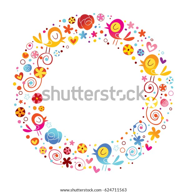 birds flowers nature circle frame border stock vector royalty free 624711563 https www shutterstock com image vector birds flowers nature circle frame border 624711563