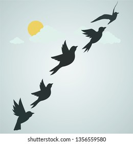 birds fly in the sky with friends in clouds and sun. illustration. Vector