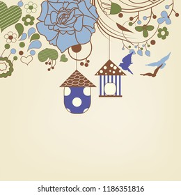 Birds flying and bird cages in a floral garden