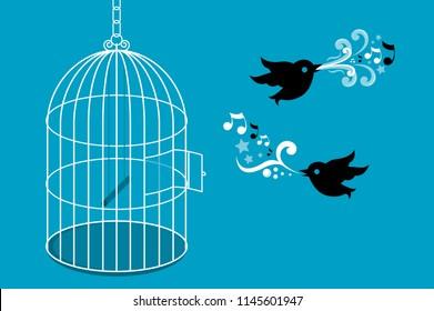 Birds flying from birdcage vector illustration