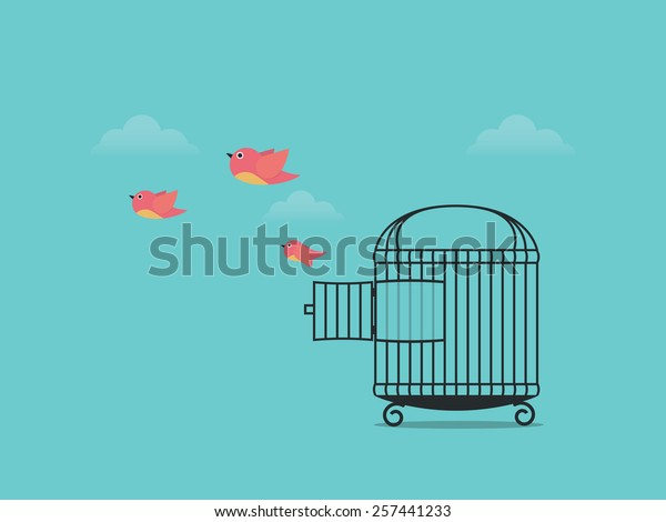 Birds flying from cage, come back to nature
