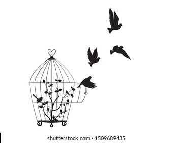 Birds Flying from the cage, flying birds silhouettes, cage illustration, freedom symbol, wall decals, wall artwork, poster design isolated on white background. Wall Art decoration