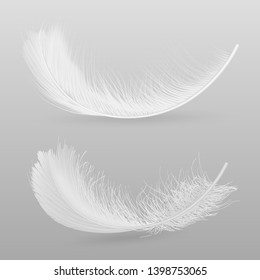 Birds flying or falling down white, fluffy feathers 3d realistic vector illustration isolated on grey background. Softness and fragility symbol. Tenderness and purity concept decorative design element