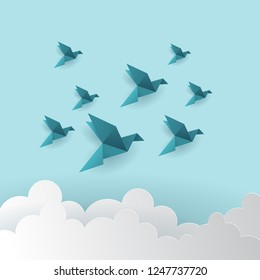 Birds Flying with Origami style
