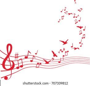 Birds flying from sheet music