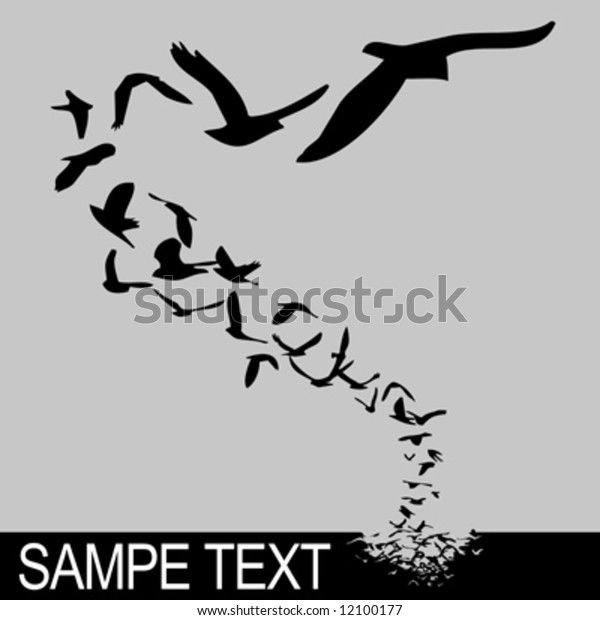 lot of birds flying; silhouette style illustration