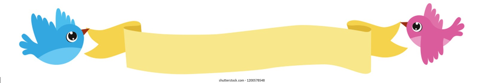 Birds Flying with yellow Banner Vector image