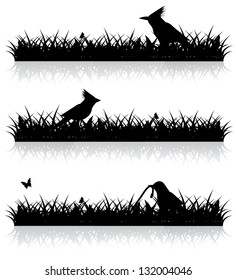 Birds in the grass. Silhouette. EPS 8 vector, grouped for easy editing. No open shapes or paths.
