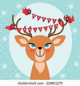 Birds hang Christmas lights on the horns of a deer vector illustration