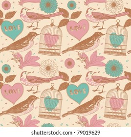 Birds with heart and flowers. Hand-drawn seamless pattern