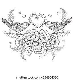 Birds with heart and roses for the anti stress coloring page.