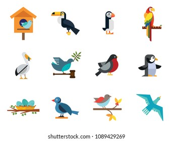 Birds Icon Set. Birdhouse Nest With Eggs Bullfinch Bird Sitting On Branch Blue Bird Dove With Olive Twig Flying Bird Parrot Pelican And Fish Titmouse Toucan Puffin Penguin
