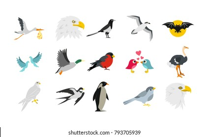 Birds icon set. Flat set of birds vector icons for web design isolated on white backgroun