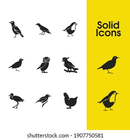 Birds icons set with golden oriole, crane bird and owl elements. Set of birds icons and starling bird concept. Editable vector elements for logo app UI design.