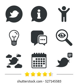 Birds icons. Social media speech bubble. Short messages chat symbol. Information, light bulb and calendar icons. Investigate magnifier. Vector