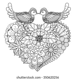Birds kissing on floral heart shape nest for coloring book and other decorations
