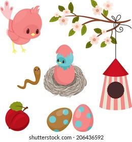 Bird's life. Cute cartoon icons over white