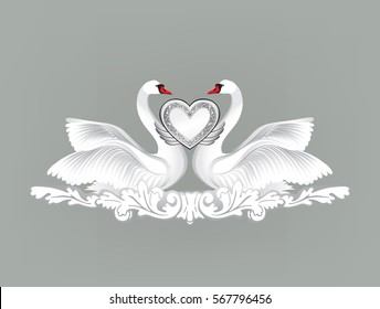 Birds in love with floral decoration. Couple of swans. Two love hearts concept illustration. Good for wedding, St Valentine greeting card decor, marriage anniversary design background.