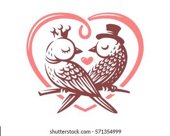Birds love logo - vector illustration, emblem design on white background
