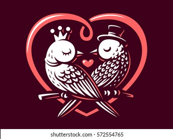 Birds love logo - vector illustration, emblem design on vinous background