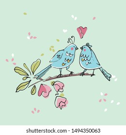birds in love standing on a tree branch]