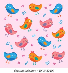 Birds in love vector background.