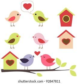 Birds in love vector set
