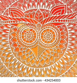 Birds mandala theme. Owl white mandala with abstract ethnic aztec ornament pattern on colorful watercolor background. Owl banner. Owl tattoo.  Zentangle inspired. Stylized ethnic Owl. Owl 3d effect