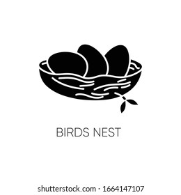 Birds nest black glyph icon. Chick breeding. Skincare product component. Eggs for Easter. Life birth. Ecology and wildlife. Spring sign. Silhouette symbol on white space. Vector isolated illustration