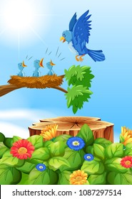 Birds in Nest om the Tree illustration