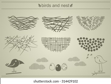 Bird's nests. A set of silhouettes of birds' nests.