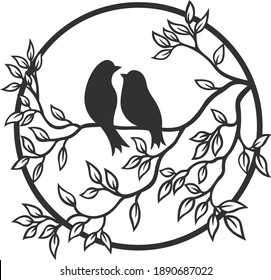 birds on a branch, a picture cut out on a cnc machine