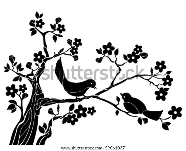 Birds on a branch of sakura