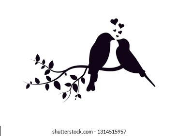 Birds on Branch Vector, Wall Decals, Birds Couple in Love, Birds Silhouette on branch and Hearts Illustrations isolated on white background .Art Decoration, Wall Decor